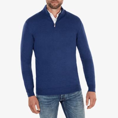 Aspen Half Zip, Jeans Blue Melange