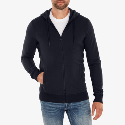 Girav Harvard long grey melange regular fit hoodie for men. Has a belly pouch with two stainless steel YKK zippers on the sides.
