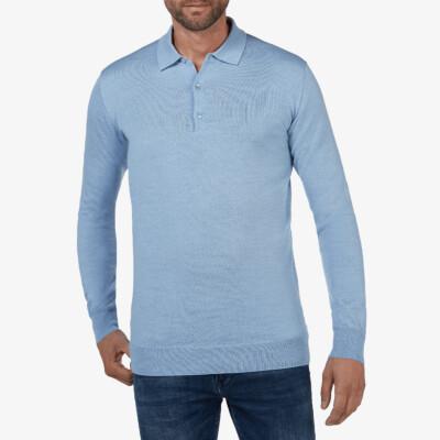 Wellington polo pullover, Light blue