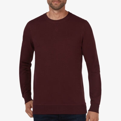 Long burgundy crew neck regular fit Girav Princeton Light sweater for men
