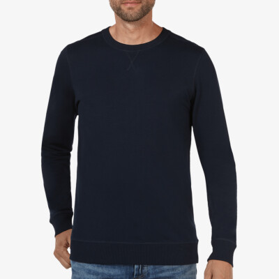 Long navy crew neck regular fit Girav Princeton Light sweater for men