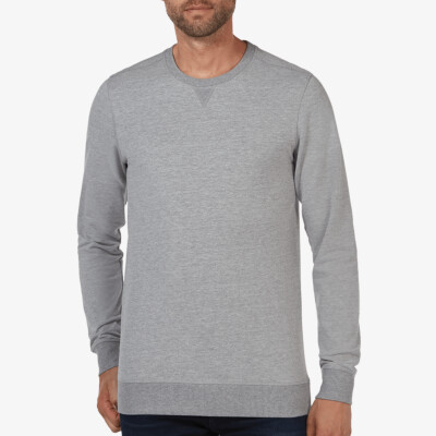 Long grey melange crew neck regular fit Girav Princeton Light sweater for men