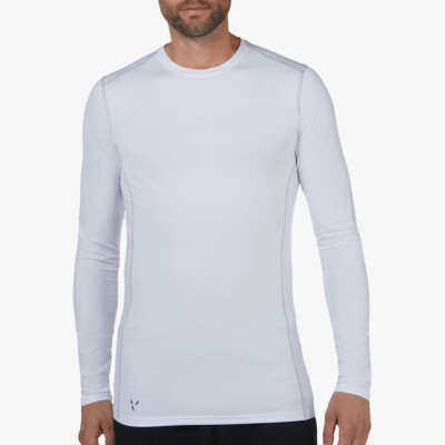 Long White Thermal Shirt for Men. Girav St. Anton, Nanotechnology, Crew Neck, Slim Fit.
