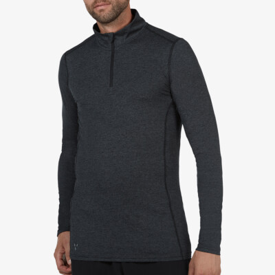 Serfaus Zip Thermoshirt, Black Melange