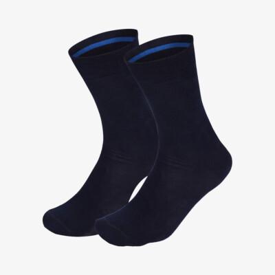 Navy long seamless Girav Oxford comfortable socks for men