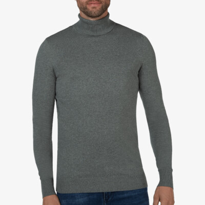 Bari Light turtleneck, Mid grey melange