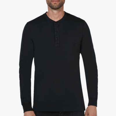 Blackpool Henley Sweater - Garment Dye, Black