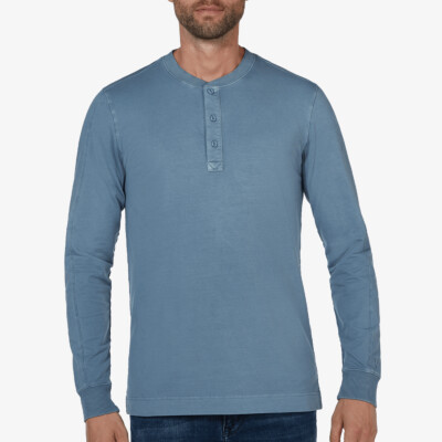 Blackpool Henley Sweater - Garment Dye, Jeans Blue