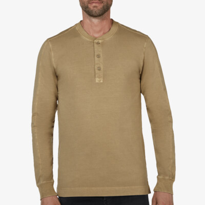 Blackpool Henley Sweater - Garment Dye, Olive Green