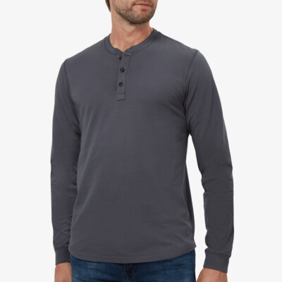 Miami Longsleeve Henley, Dark Grey
