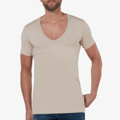 Girav Milano long white slim fit stretch deep V-neck men's T-shirt