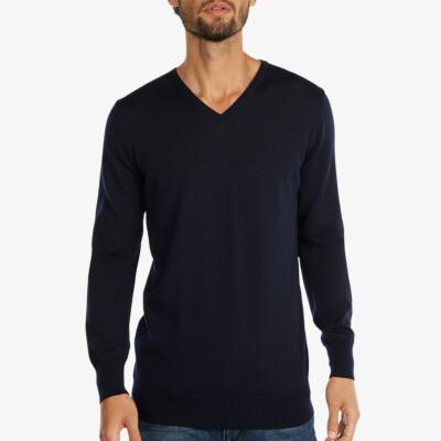 Long black V-neck regular fit Girav Montreal merino pullover for men