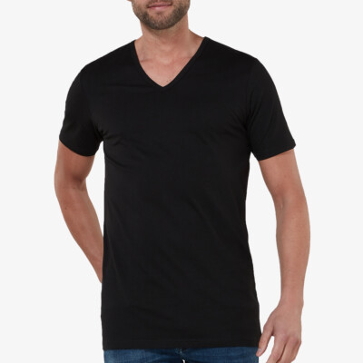 Black long short sleeve regular fit T-shirt for tall men: Girav New York 2-pack