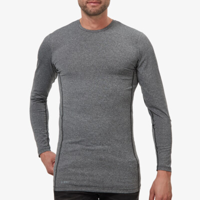 Long Dark Grey Melange Thermal Shirt for Men. Girav St. Anton, Nanotechnology, Crew Neck, Slim Fit
