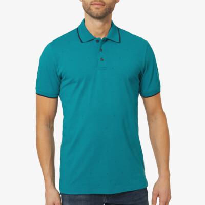 Long Dress Blue / Navy Men's Poloshirt, Girav Marbella, Slim Fit