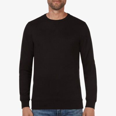 Long black crew neck regular fit Girav Cambridge sweater for men