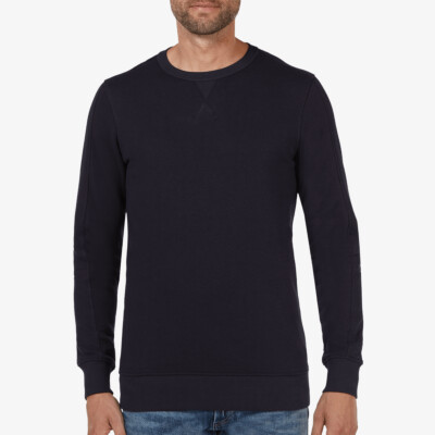 Long navy crew neck regular fit Girav Cambridge sweater for men