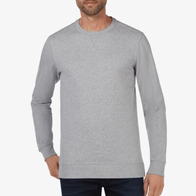 Girav Cambridge crew neck grey melange men's sweater. Super comfortable and perfect for tall men.