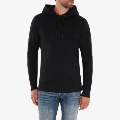 Girav Harvard long black regular fit hoodie for men. Has a belly pouch with two stainless steel YKK zippers on the sides.