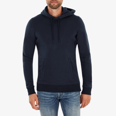 Girav Harvard long navy regular fit hoodie for men. Has a belly pouch with two stainless steel YKK zippers on the sides.