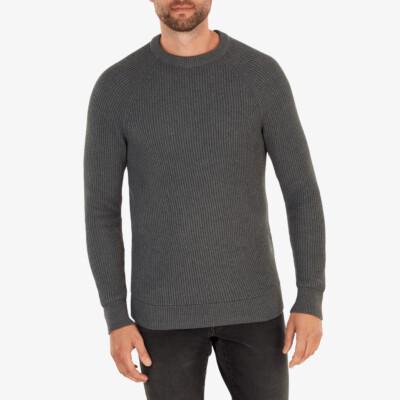 Helsinki heavy knit Pullover, Antracite melange