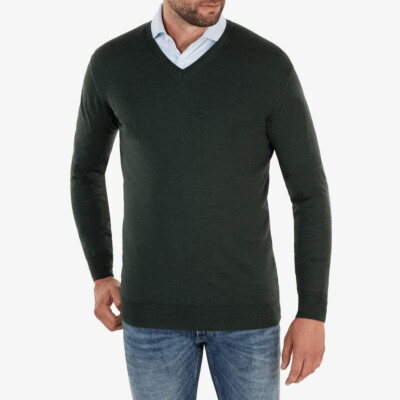 Kingston v-neck Pullover, Dark green melange
