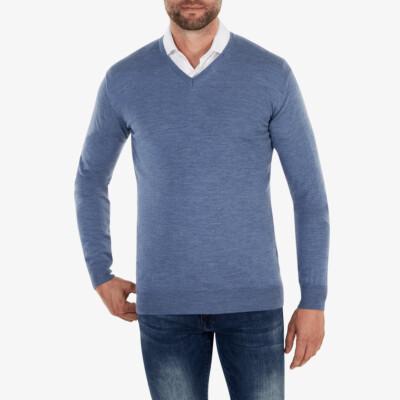 Kingston v-neck Pullover, Light jeans melange