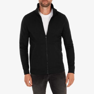 Girav Stanford long black regular fit zip up cardigan for men