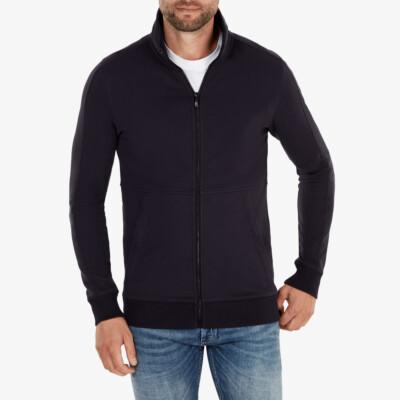 Girav Stanford long navy regular fit zip up cardigan for men