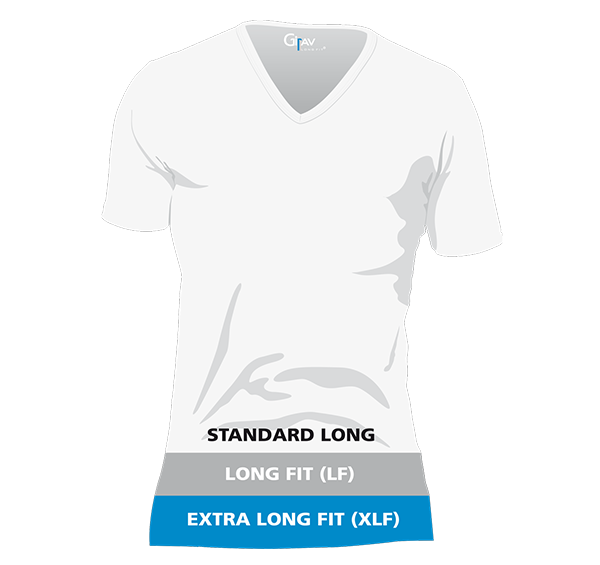 Size system Girav long fit men's T-shirts